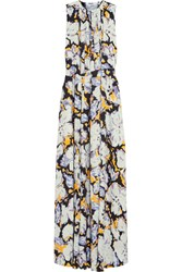 Msgm Belted Printed Silk Gown Sky Blue Violet