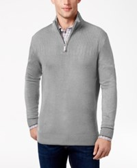 Geoffrey Beene Men's Quarter Zip Drop Needle Sweater Medium Grey Heather