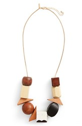 Topshop Women's Mixed Wood Bead Necklace