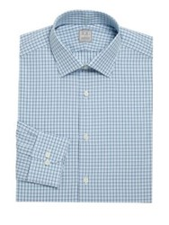 Ike Behar Checkered Cotton Dress Shirt Blue Frost