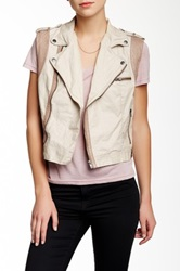 Jakett Jilly Contrast Linen Trim Leather Vest Brown