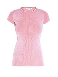 Stella Mccartney Short Sleeved Ribbed Knit Top Light Pink