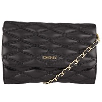 Dkny Gans Quilted Nappa Leather Small Across Body Bag Black