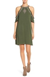 Love Fire Women's Embroidered Cold Shoulder Shift Dress Green