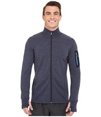 Icebreaker Compass Long Sleeve Zip Fathom Heather Cyan Men's Clothing Gray