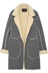 Norma Kamali Faux Shearling And Jersey Coat Gray