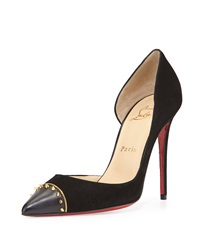 Christian Louboutin Culturella Half D'orsay Red Sole Pump Black