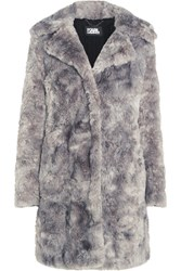 Karl Lagerfeld Faux Fur Coat Light Gray