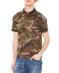 Valentino Camo Print Short Sleeve Polo Shirt Green