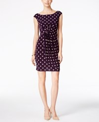Connected Petite Polka Dot Faux Wrap Dress Dark Amethys