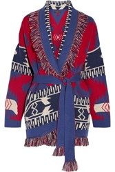 Alanui Fringed Jacquard Knit Cashmere Cardigan Red