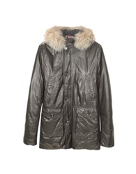Forzieri Men's Hooded Leather Car Coat Brown