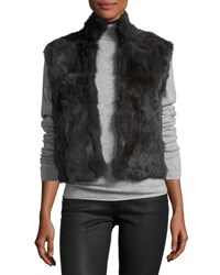 Adrienne Landau Fitted Rabbit Fur Vest Charcoal