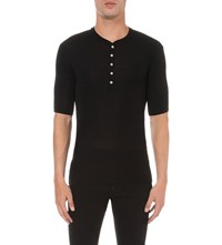 Dsquared Sexy Fit Cotton Jersey Henley T Shirt Black