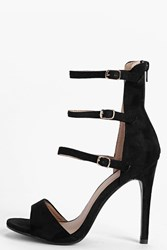 Boohoo Ankle High Buckle Strap Two Part Heels Black