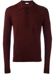 Cmmn Swdn Chest Pocket Knitted Polo Shirt Red