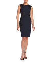 Vince Camuto Floral Lace Accented Sheath Dress Black Navy