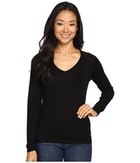Smartwool Granite Falls V Neck Top Black Women's Long Sleeve Pullover