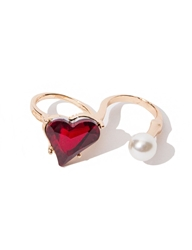 Pixie Market Heart Of Glass Double Ring