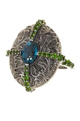 Stephen Dweck London Blue Topaz And Green Chrome Diopside Ring Size 8 Metallic