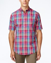 Club Room Men's Plaid Short Sleeve Shirt Only At Macy's Cherry Pink