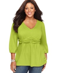 Ny Collection Plus Size Three Quarter Sleeve Ruched Empire Waist Top Green Glow