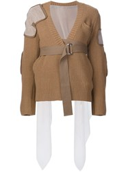 Sacai Belted Cardigan Brown
