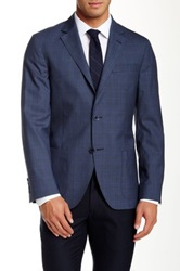 Ike Behar Blue Plaid Two Button Notch Lapel Wool Sport Coat