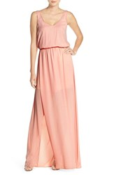 Show Me Your Mumu Women's 'Kendall' Soft V Back A Line Gown Frosty Pink Crisp