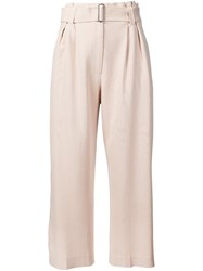 A.L.C. High Waisted Wide Cropped Trousers Nude And Neutrals