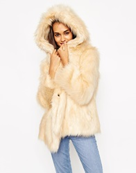 Asos Coat With Oversized Hood In Vintage Faux Fur Beige