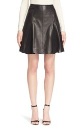 Yigal Azrou L Women's Pleated Leather Skirt
