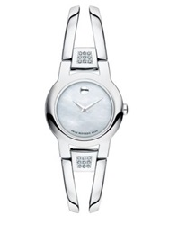 Movado Amarosa Diamond Mother Of Pearl And Stainless Steel Bangle Bracelet Watch Silver