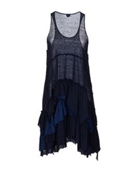 120 Lino 120 Lino Short Dresses Dark Blue