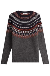 Closed Patterned Knit Pullover Multicolor