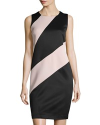 Carmen By Carmen Marc Valvo Sleeveless Colorblock Scuba Dress Black Beige