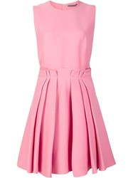 Alexander Mcqueen Pleated Skirt Skater Dress Pink Purple