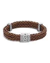 John Hardy Sterling Silver Classic Chain Heritage Double Braided Bracelet With Brown Leather Brown Silver