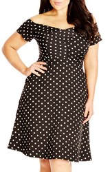 Plus Size Women's City Chic 'Dancer' Dot Print Off The Shoulder Fit And Flare Dress Ivory