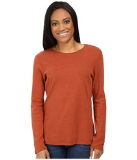 Pendleton Petite L S Jewel Neck Cotton Rib Tee Arabian Spice Heather Women's Long Sleeve Pullover Orange