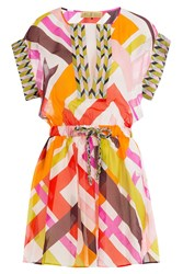 Emilio Pucci Printed Gauze Silk Tunic With Drawstring Multicolor