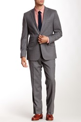 Kenneth Cole Charcoal Wool Solid Two Button Notch Lapel Suit Gray