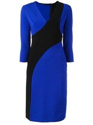 Versace Structured Cut Out Dress Blue