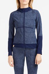Monreal London Denim Print Zip Up Top Blue