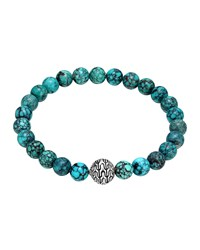 Large Turquoise Beaded Bracelet With Magnetic Clasp John Hardy Silver