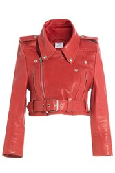 Vetements Cropped Leather Biker Jacket Red