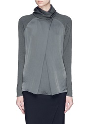 Armani Collezioni Mock Wrap Silk Front Turtleneck Top Grey