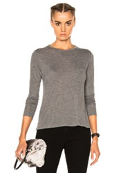 Alexander Wang T By Classic Cropped Long Sleeve Tee In Gray