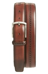 Magnanni Men's Big And Tall 'Guodi' Leather Belt Mid Brown