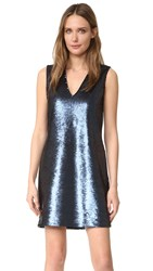 Elizabeth And James Wesley Deep V Sleeveless Sequin Dress Black Navy